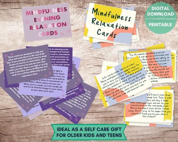 PRINTABLE mindfulness cards set, Teens relaxation cards, evening mindfulness cards, self care cards, teens stress relief, stocking stuffer