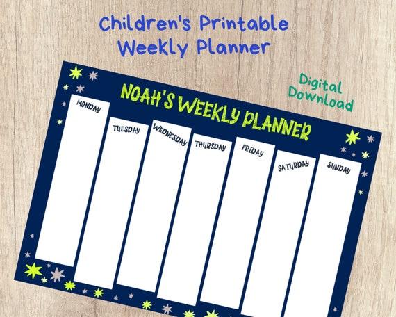 PRINTABLE homeschool schedule chart, kids personalised weekly planner, stars routine schedule chart, boys weekly homeschool planner,