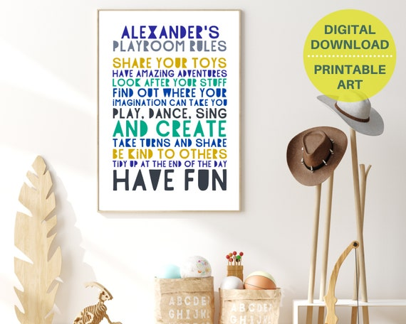 PRINTABLE playroom rules sign, personalized gift for boy, boys custom playroom wall art, play room décor, kids room décor, playroom poster