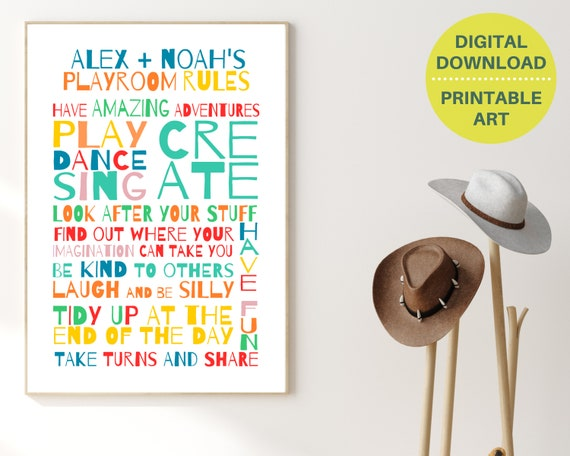 Playroom Rules print, printable playroom wall art, personalized playroom decor, playroom prints, rainbow Playroom Rules, kids room decor,