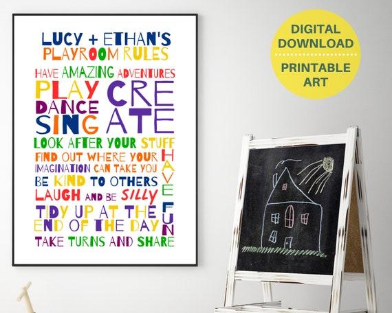Rainbow playroom print, personalised Playroom Rules sign, printable playroom decor, playroom prints, rainbow Playroom Rules, kids room decor