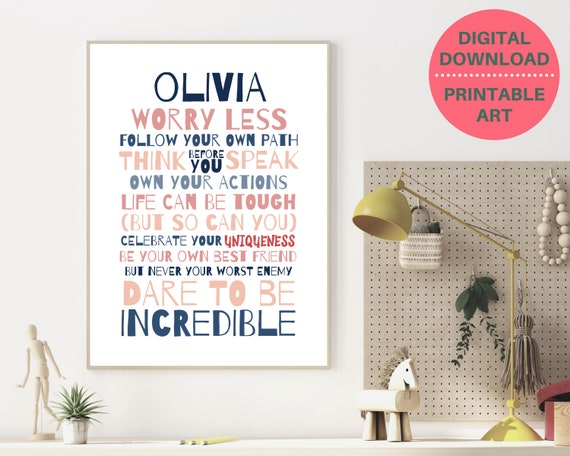PRINTABLE self care personalized poster, custom girls graduation gift, teen room decor, teen girl inspirational poster, Worry Less quote art
