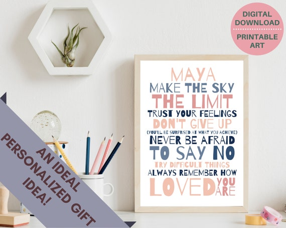 Personalized teen girl inspirational quote art,  PRINTABLE custom teen girl print, teen room decor, teen girl motivational print, blush pink