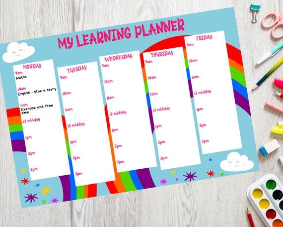 PRINTABLE home learning planner, girls homeschool planner download, kids weekly planner, children's rainbow printable, Instant Download