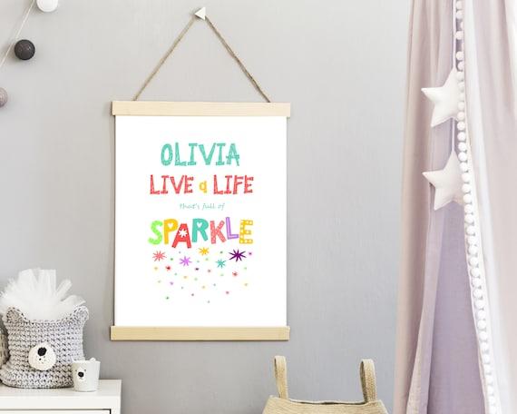 PRINTABLE sparkle personalized poster, custom girls wall art, girls room wall decor, girls positive quote art, inspirational art, kid print