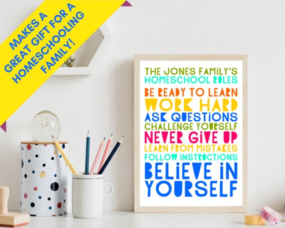 Homeschool Rules PRINTABLE poster, personalized homeschool rules sign, homeschool wall decor, homeschool wall art, distance learning decor