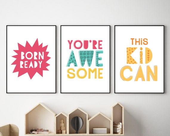 PRINTABLE homeschool wall art prints, kids encouragement art, girls homeschool decor, home school motivational prints, girls positive quote