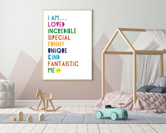 I AM LOVED digital typographic print, kids rainbow word art poster, rainbow room decor, kids room decor, inspirational art, Instant Download