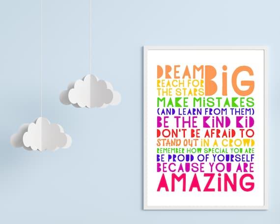 PRINTABLE Dream Big poster, teen girls gift, teen girl positive wall art, teen room decor, teens inspirational poster, rainbow wall art