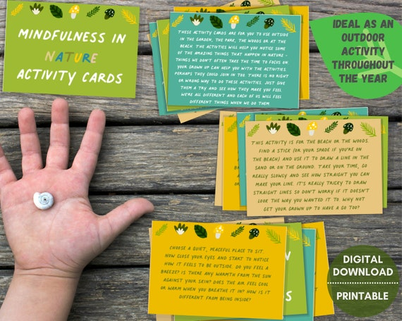 Kids mindfulness cards, PRINTABLE mindfulness in nature activity, kids outdoor activities, mindful printable for kids, homeschool activity