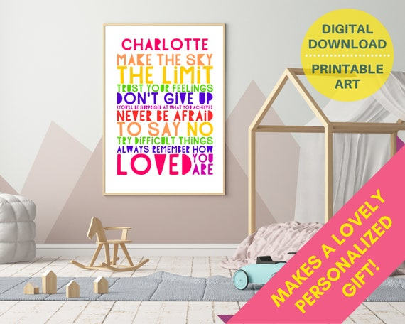 PRINTABLE Don't Give Up personalized poster, custom girls wall art, teen room decor, teen girl inspirational print, girls positive quote art