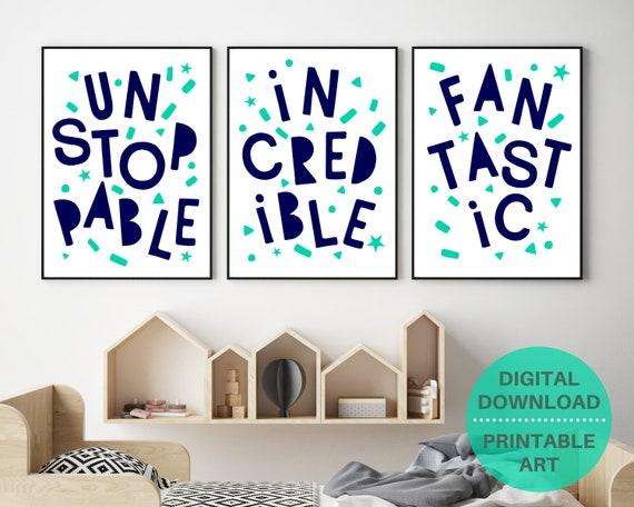PRINTABLE typography poster set, kids motivational word art prints, kids navy word art, kids room decor, playroom wall art, classroom decor