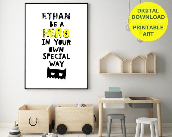 PRINTABLE custom superhero word art print, personalized art for boy, nursery decor, monochrome print, custom nursery art, positive kid print