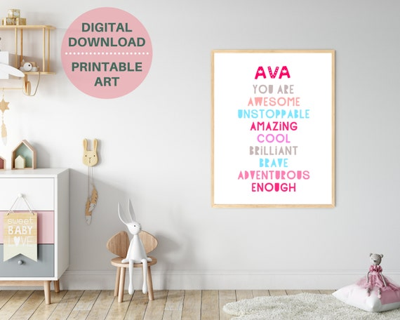 YOU ARE ENOUGH wall print, custom gift for girl, pink kids room decor, personalized girls name print, motivational poster. Digital download