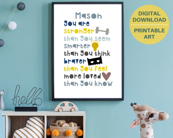 Daily affirmations print for boy, kids Personalized positive affirmation print, childs inspirational room decor, boys gift, DIGITAL DOWNLOAD