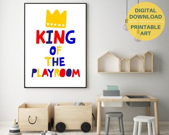 Playroom wall decor, PRINTABLE King Of The Playroom poster, gift for boy, kids room art, play room art, toddler boys print, nursery decor