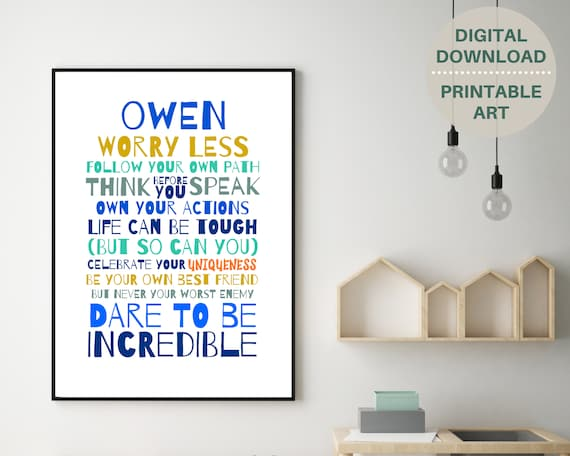 Teens inspirational quote personalized poster, PRINTABLE wall art, boys personalised gift, teen room decor, teen boy wall art, motivational