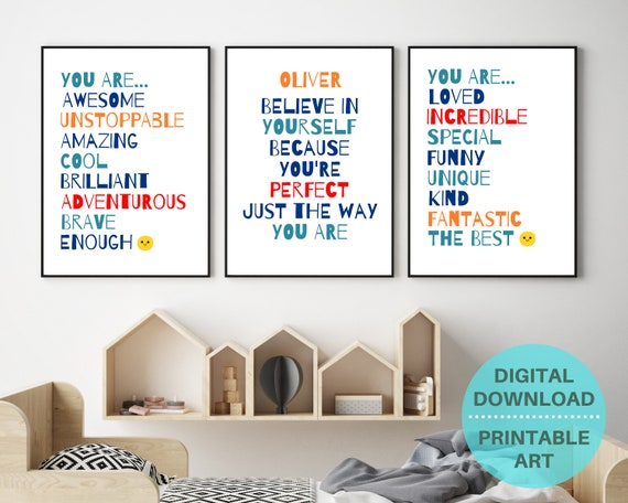Set of 3 positive affirmation wall art prints for boys room - Can be personalised with a name - Digital Download