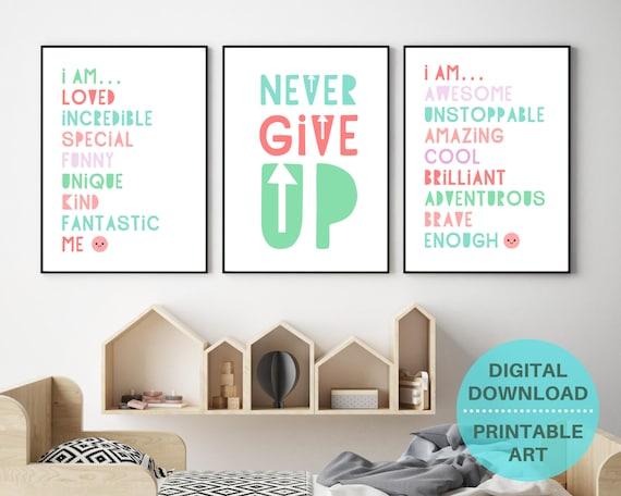 PRINTABLE homeschool decor, kids motivational wall decor, girls homeschool poster set, kids prints bundle, inspirational quote prints