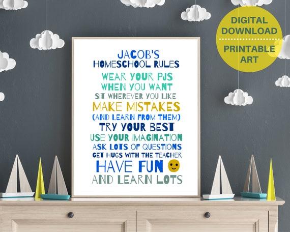 Homeschool Rules printable art, boys homeschool personalized print, homeschool decor, homeschool wall art, homeschool family, homeschooling