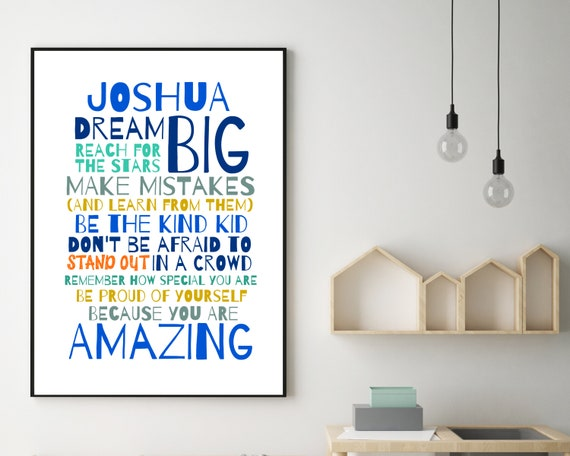 PRINTABLE Dream Big personalized poster, customized boys wall art, teen room decor, teen boy inspirational poster, boys positive quote art