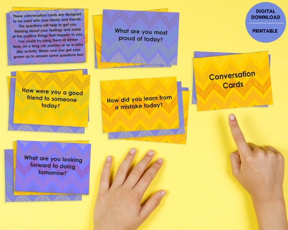 Kids conversation cards, PRINTABLE conversation card game, positive activity for kids and families, self care, wellbeing, educational game