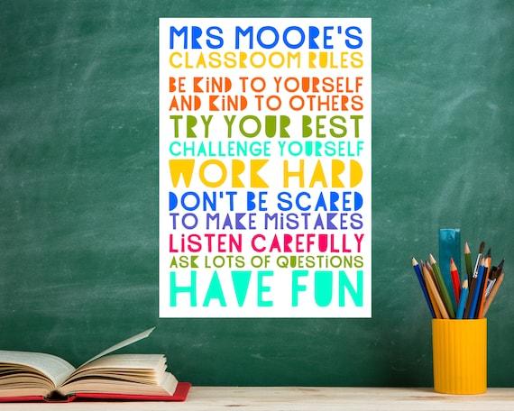 Personalised teacher gift, PRINTABLE Classroom Rules poster, classroom decor print, custom classroom word art, teacher appreciation gift