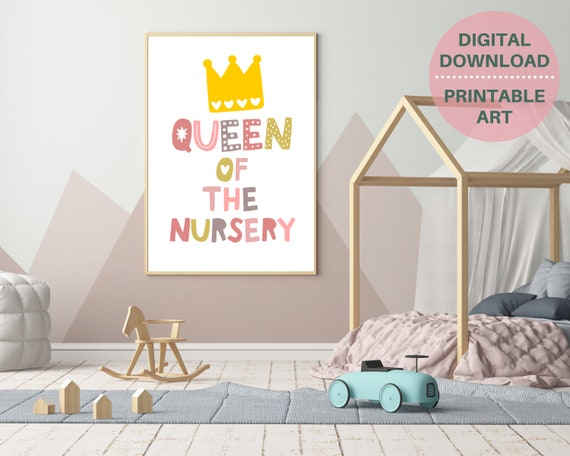 Queen Of The Nursery print, PRINTABLE nursery decor, nursery wall art, baby shower gift for girl, girls blush pink nursery, INSTANT DOWNLOAD