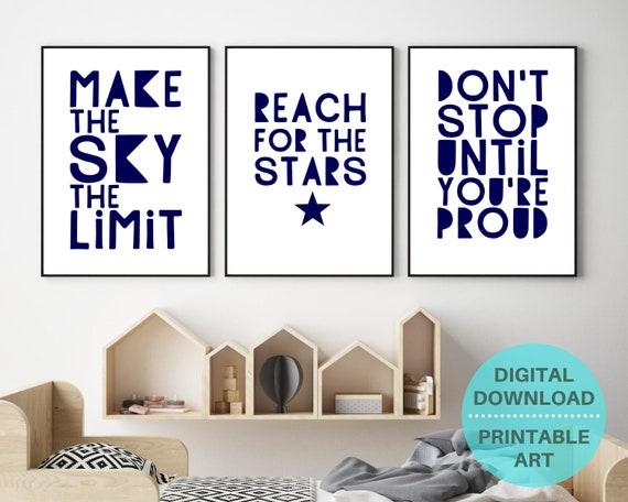 Set of 3 prints, navy wall art, quote prints, teenage boy gifts, teen bedroom decor, reach for the stars, motivational prints, gift for kids