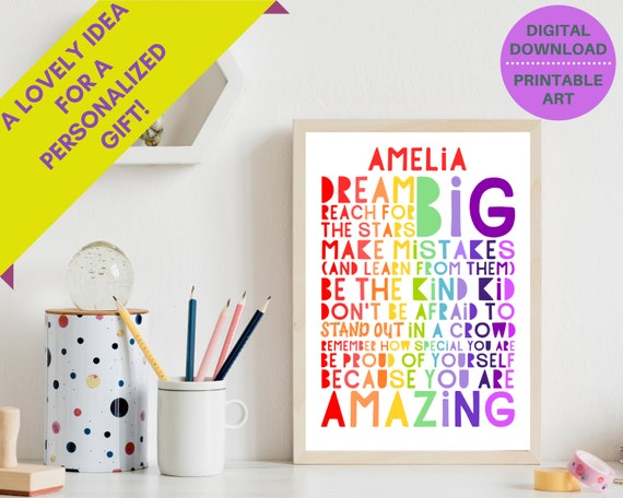 Dream Big wall decor, rainbow art prints, personalized gifts for girl, teen girls inspirational printable art, positive quote print