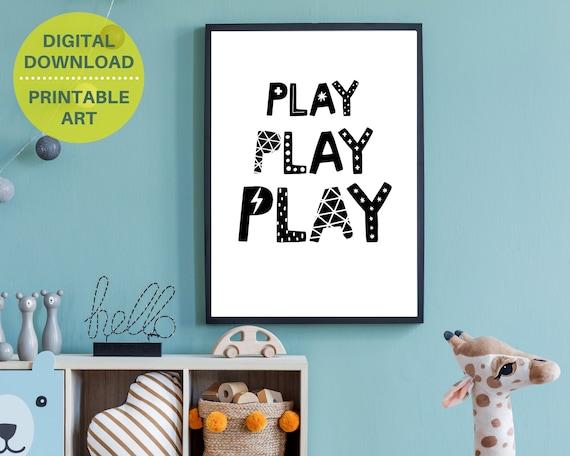 PRINTABLE playroom nursery wall art, Play, Play, Play poster, kids room decor, kid printable art, monochrome word art,  kids play room decor