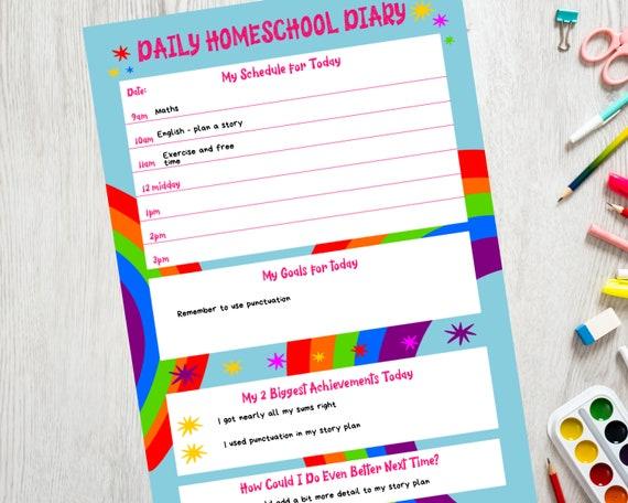 Homeschool planner, homeschooling daily schedule, kids PRINTABLE planner, homeschool printables, homeschool digital planner, girls planner