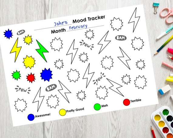 PRINTABLE kids monthly mood tracker, self care activity for children, daily tracker, printable superhero colouring sheet, kids mood tracking