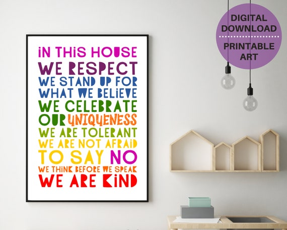 PRINTABLE family rules poster, family gift, home wall decor, We Are Kind word art, kids house rules, positive family quote, Instant Download