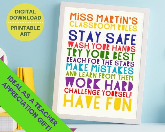 PRINTABLE Stay Safe Have Fun classroom poster, personalised teacher sign, classroom decor, primary school decor, grade school decor