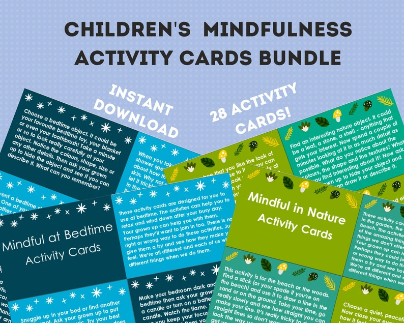 Kids printable mindfulness cards bundle, bedtime mindfulness cards,  mindfulness in nature cards, printable activities, kids relaxation cards