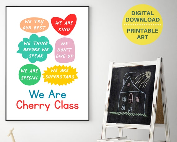 Class name sign, classroom decor, personalized classroom print, rainbow class decor, educational print, grade school sign, digital download