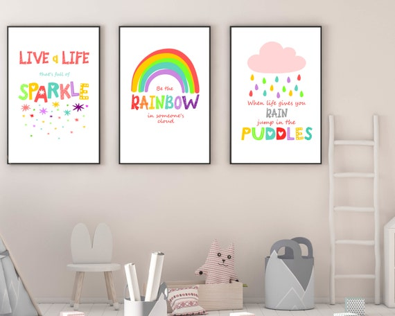 PRINTABLE rainbow wall art, gift for girl, girls room decor, teen girl quote art, girls positive quote posters, set of 3, rainbow decor