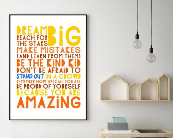 PRINTABLE Dream Big poster, teen girl gift, teen girls positive wall art, teen room decor, teens inspirational poster, burnt orange print