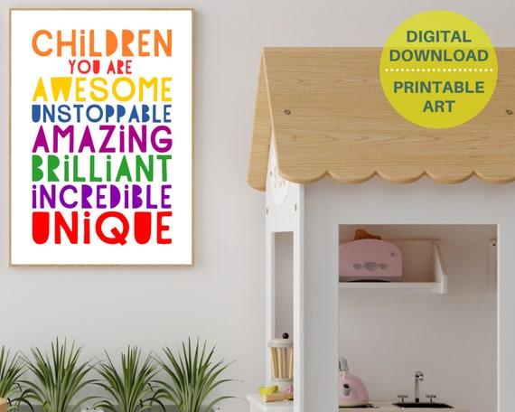 PRINTABLE classroom inspirational poster, kids positive wall art, classroom decor, teacher thank you gift, rainbow classroom art