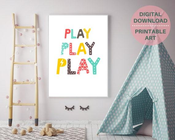 PRINTABLE playroom nursery wall art, Play, Play, Play print, kids room decor, kid printable wall art, pastel word art,  kids classroom decor