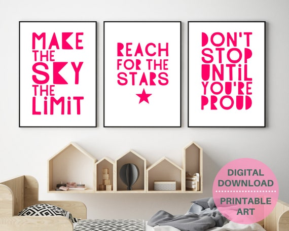 Girls Inspirational quote print set, teen girls wall decor, positive quote digital prints, gift for teen, affirmation quotes, girl print