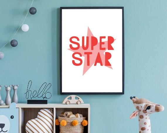 SUPERSTAR kids printable wall art poster, gift for girl, kids room decor, kids word art, positive wall art, kid print, Instant download