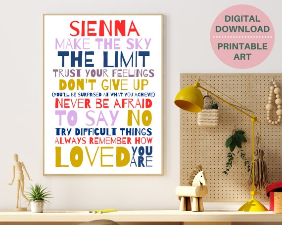 Don't Give Up PRINTABLE personalized wall art, custom girls print, decor for teens, teen girl inspirational print, girls positive quote art