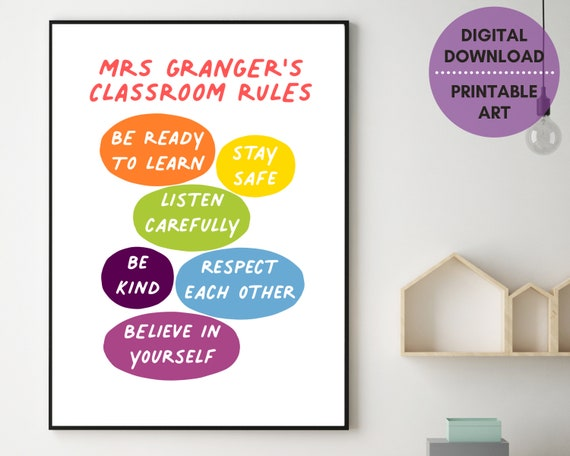 Classroom decor print, personalised classroom rules sign, gift for new teacher, teacher's name sign, primary school, grade school print