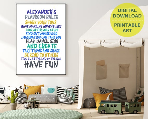 PRINTABLE playroom rules sign, custom gift for boy, boys personalized playroom wall art, play room décor, kids room décor, playroom poster