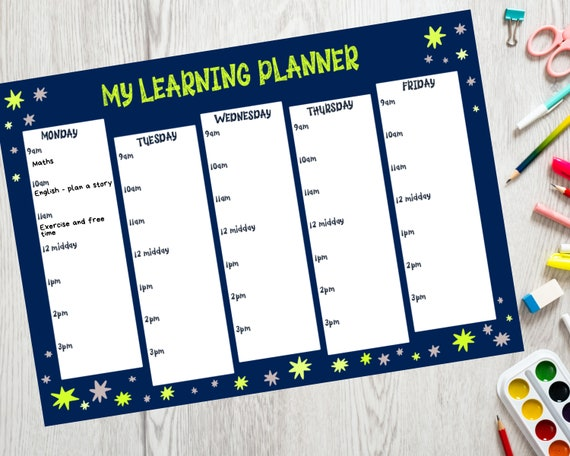 PRINTABLE homeschool planner, boys planner download, kids learning planner, children's stars printable, Instant Download