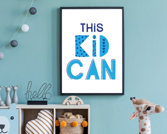 Inspirational wall decor, boys room, wall art, kids positive affirmation, printable art, encouragement quote for boy, motivational poster