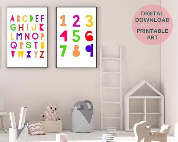 PRINTABLE set of 2 educational wall art posters, kids numbers and alphabet prints, nursery decor, homeschool prints, classroom decor