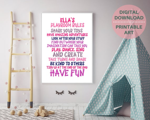 Personalized playroom rules sign, custom gift for girl, girls playroom art, playroom décor, kids room décor, play room poster, PRINTABLE